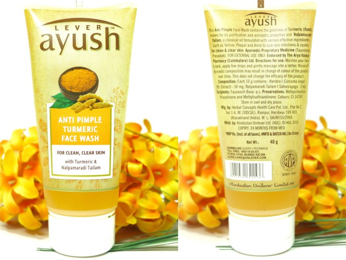 Lever Ayush Anti Pimple Turmeric Face Wash Review Packaging