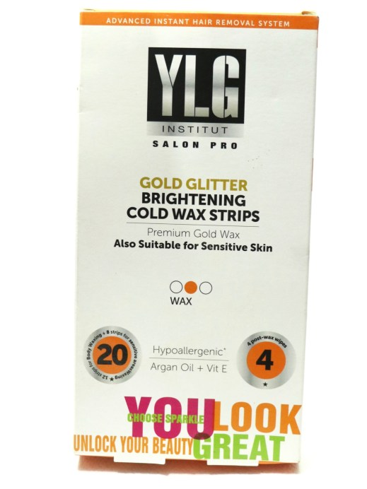 YLG Gold Glitter Brightening Cold Wax Strips Review front