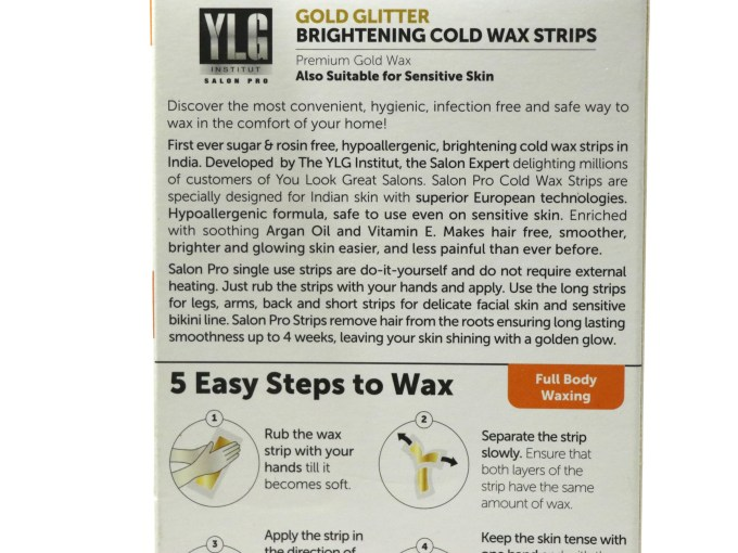YLG Gold Glitter Brightening Cold Wax Strips Review information