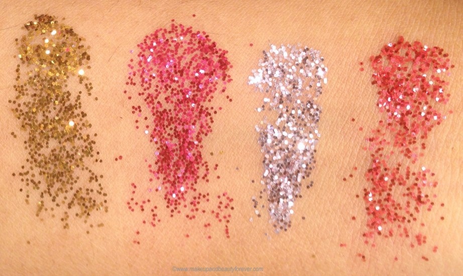 All Colorbar Feel The Rain Twinkling Glitter 4 Shades Review, Swatches Drippy Golden Dewy Silver Muggy Pink Rainy Red MBF Blog