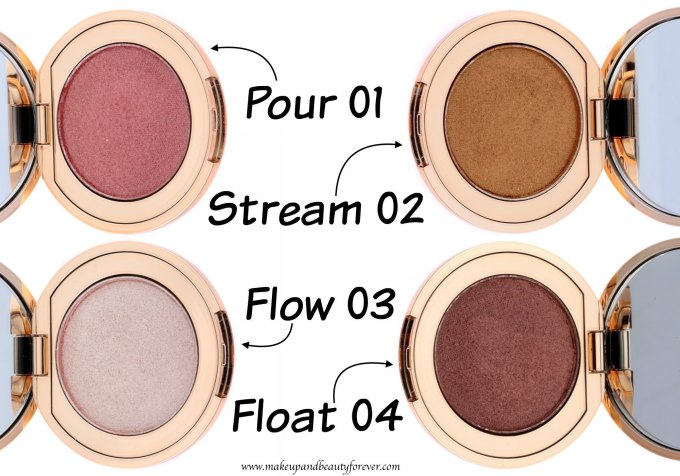 All Colorbar Feel The Rain Metallik Eyeshadows 4 Shades Review, Swatches Pour 01 Stream 02 Flow 03 Float 04 MBF Blog