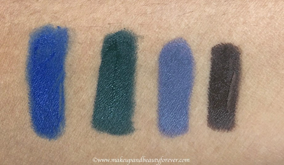 All Faces Ultime Pro Mystic Kajal 4 Shades Review, Swatches Blue 03 Green 01 Grey 04 Brown 02 MBF