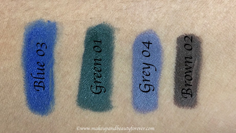 All Faces Ultime Pro Mystic Kajal 4 Shades Review, Swatches Blue 03 Green 01 Grey 04 Brown 02
