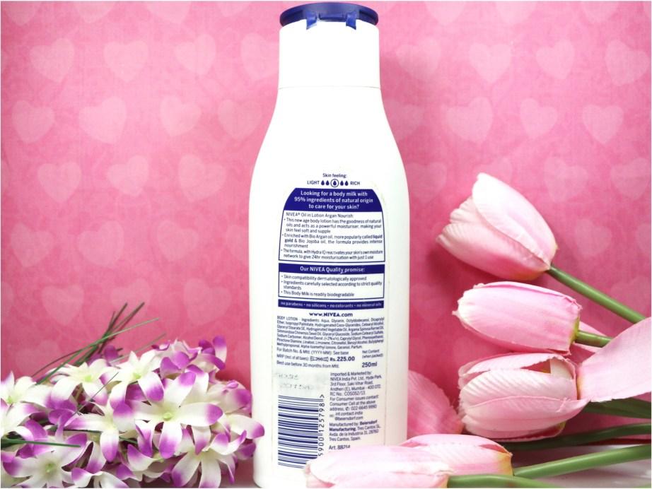 Nivea Oil in Lotion Argan Nourish Body Lotion Review Info