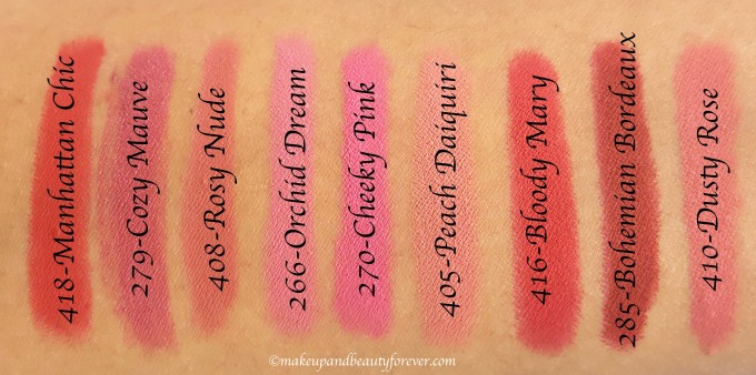 All BeYu Color Biggie MATT Lips and More Lipsticks 9 Shades Review, Swatches 418, 279, 408, 266, 270, 405, 416, 285, 410