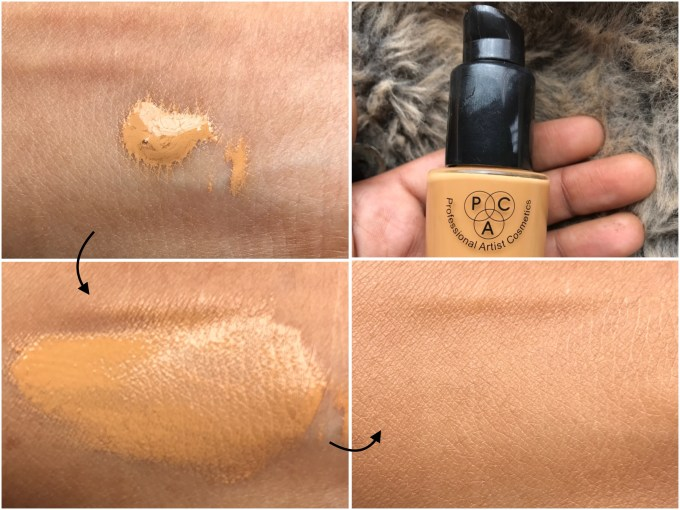 PAC HD Liquid Foundation Review, Swatches on MAC NC 42 skin