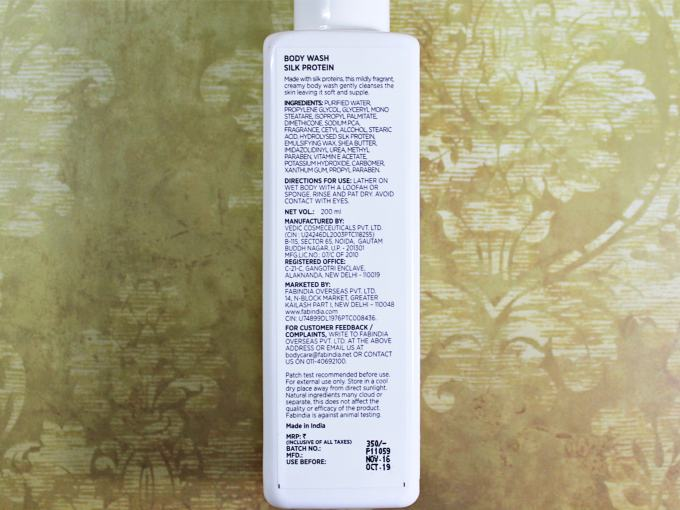 FabIndia Silk Protein Body Wash Review ingrediets