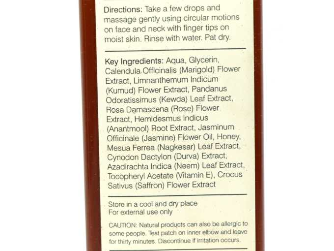 Forest Essentials Delicate Facial Cleanser Kashmiri Saffron & Neem Review Ingredients