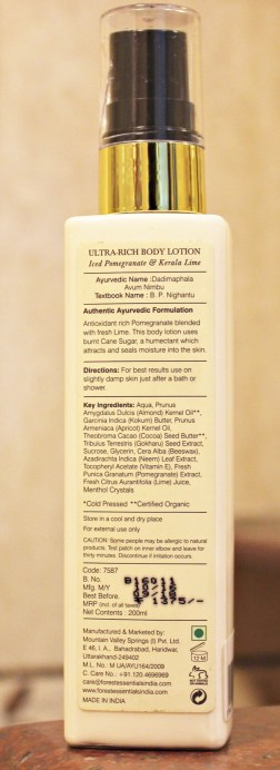 Forest Essentials Ultra Rich Body Lotion Iced Pomegranate & Kerala Lime Review Info