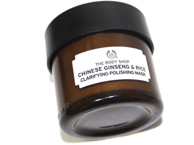 The Body Shop Chinese Ginseng & Rice Clarifying Polishing Mask Review MBF Blog