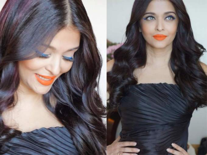 Aishwarya Rai Cannes Day 4 Orange Lipstick Blue Eyeliner L'Oreal Infallible Paints liner Shade Vivid Aqua