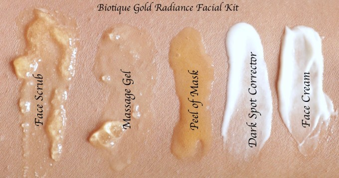 Biotique Gold Radiance Facial Kit with Gold Bhasma Review, Swatches on MBF