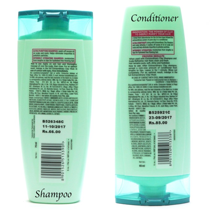 L'Oreal Extraordinary Clay Shampoo and Conditioner Review, Swatches Details