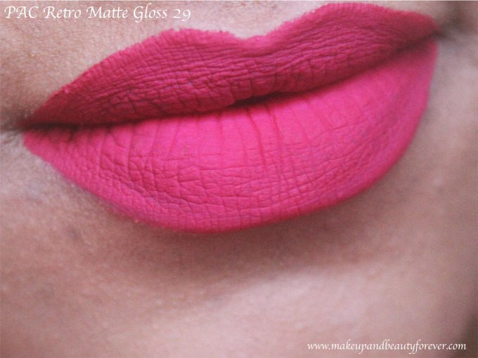 PAC Retro Matte Gloss 29 Review, Swatches Bright Pink lipstick MBF Blog
