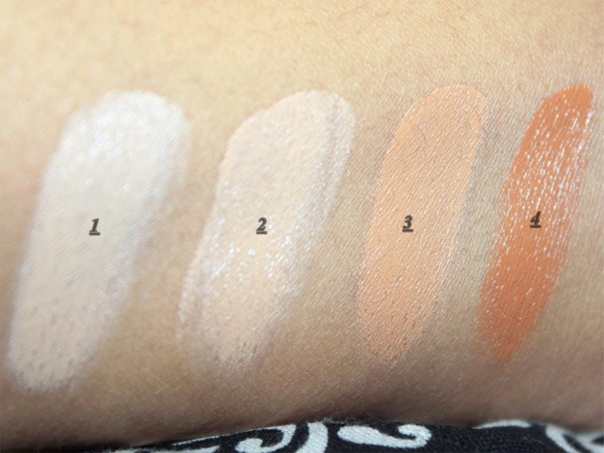 Makeup Revolution Ultra Cover and Conceal Palette Review, Swatches top row