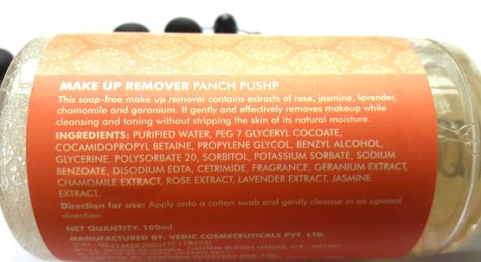 Fabindia Panch Pushp Makeup Remover Review Ingredients