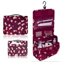 Pockettrip Hanging Toiletry Kit Clear Travel BAG Cosmetic Carry Case Toiletry (Flower in Wine Red)