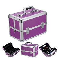"Ollieroo® 14"" Aluminum Makeup Cosmetic Train Case Jewelry Storage Organizer Box with Adjustable Cantilever Trays Purple"