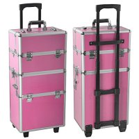 Radical Deal 2-wheel 2-in-1 Professional Multifunction Artist Rolling Trolley Makeup Beauty Train Case Cosmetic Organizer W/shoulder Straps (Pink)