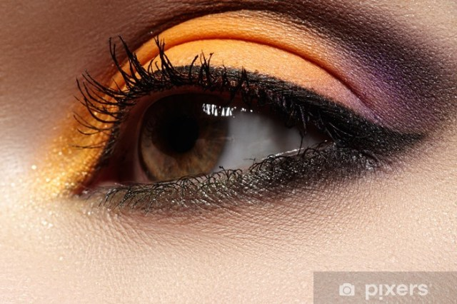 Bright Color Eye Makeup Beautiful Eye With Celebratory Bright Color Eyeshadow Wall Mural