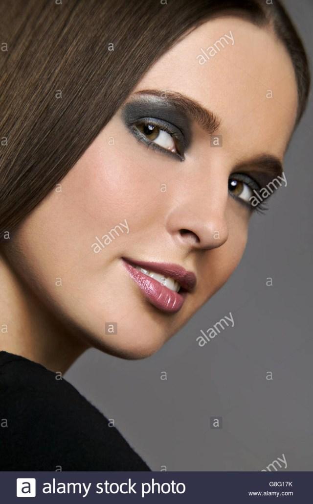 Dark Eyes Makeup Studio Shot Of Woman With Dark Eye Makeup Stock Photo 108531687 Alamy