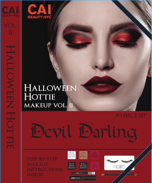 Devil Costume Eye Makeup 10 Piece Makup Set Halloween Hottie Costume Make Up Kit For Adults