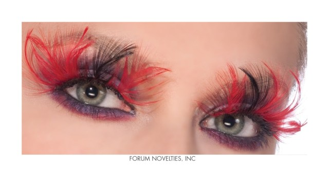 Devil Costume Eye Makeup Red Black Feather Devil Eye Lashes Eyelashes Theatrical Makeup