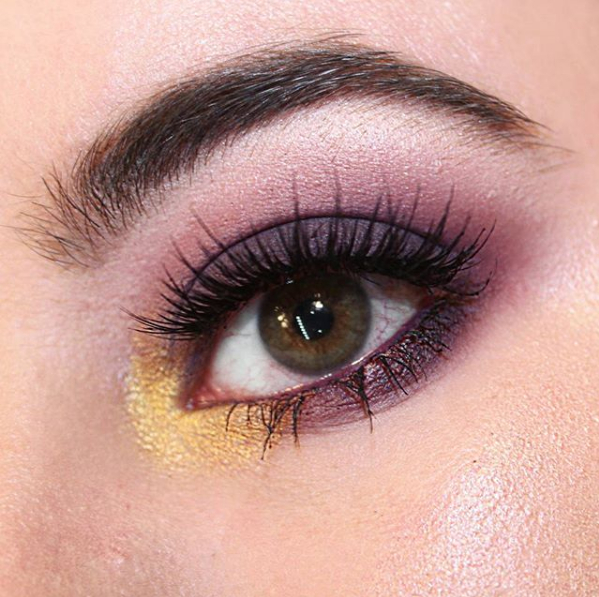 Purple And Gold Smokey Eye Makeup Cropped Purple And Gold Smokey Eye Close Up Dar Mckie Makeup
