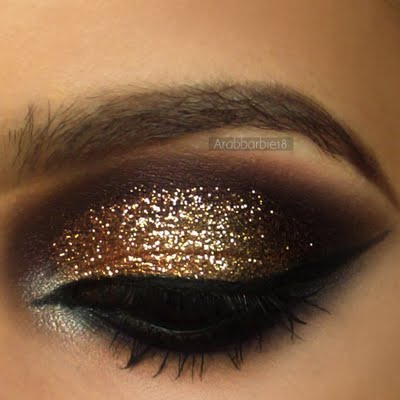 Purple And Gold Smokey Eye Makeup Gold Glitter With Deep Purple Preen