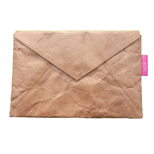 Brown tyvek clutch bag
