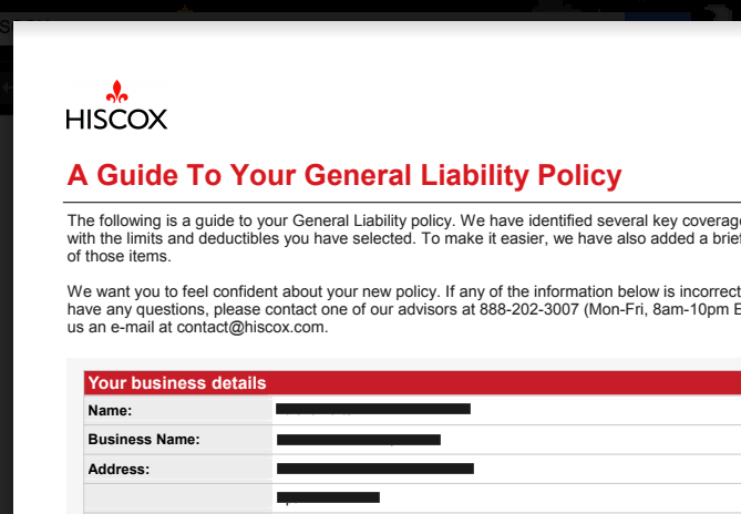 Hiscox Insurance General Liability Policy