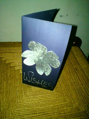 Silver On Purple Handmade Birthday Card