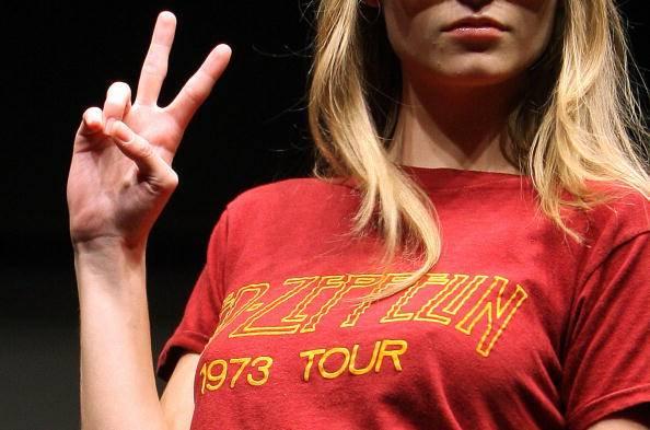 A model displays a vintage Led Zepellin