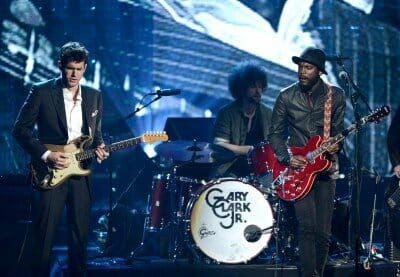 LOS ANGELES, CA - APRIL 18: (L-R) Musicians John Mayer and Gary Clark Jr. perform onstage at the 28th Annual Rock and Roll Hall of Fame Induction Ceremony at Nokia Theatre L.A. Live on April 18, 2013 in Los Angeles, California. (Photo by Kevin Winter/Getty Images)