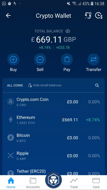 Crypto.com trading interface to buy bitcoin in the United Kingdom
