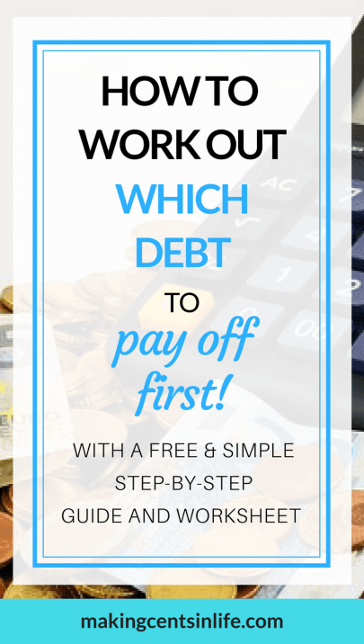 Which debt should I pay off first? Have you got too many debts and don't know which one to focus on first? Get you FREE simple step-by-step guide to help you to work out which debt to pay off first! Crush your debt fast by paying off the debts with the highest interest rate first. Use the worksheet in your free guide and pin it to the wall so you can see your progress! Get it now and start crushing your debt!