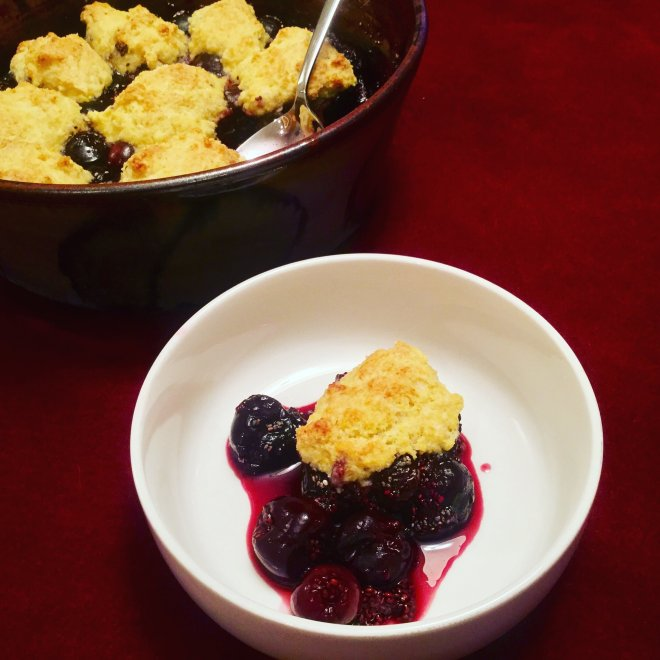 Cherry Chia Cobbler - This delicious healthy cobbler uses Chia seeds to thicken up the dark sweet cherries that are cooked with a tender biscuit topping. This heatlhy dessert is low in sugar and low in fat
