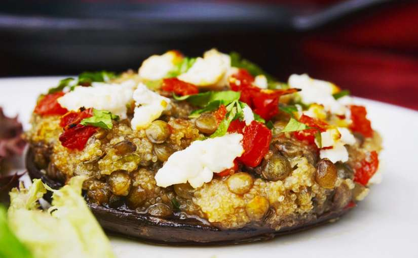 Lentil Amaranth Stuffed Portobello Mushrooms