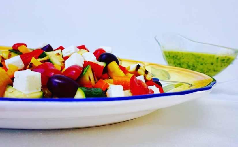 Grilled Zucchini Greek Salad