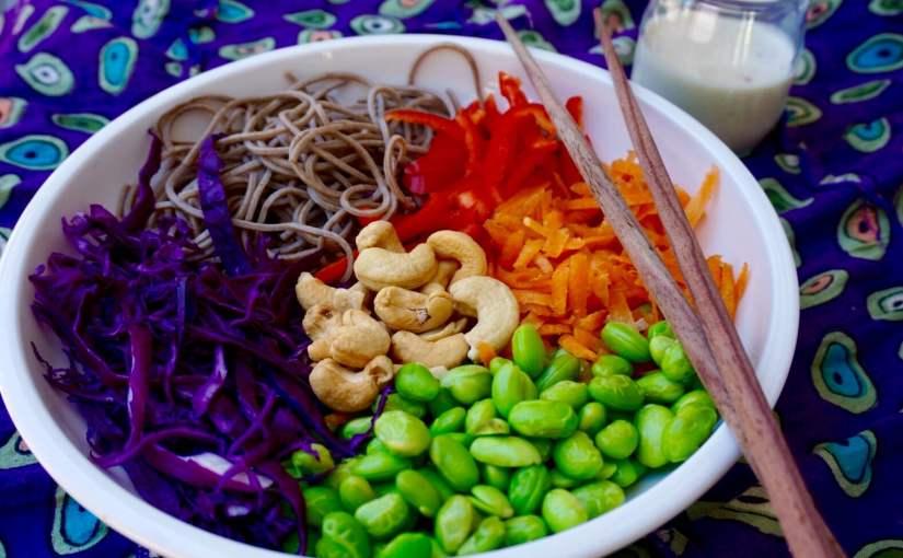 Soba Edamame Salad with Tahini Dressing