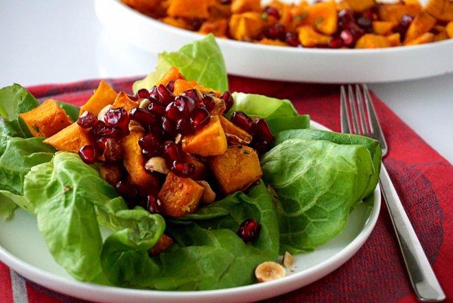 Roasted Squash Hazelnut and Pomegranate Salad