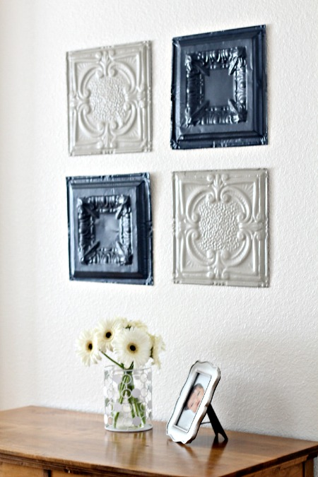 tin ceiling tiles wall art