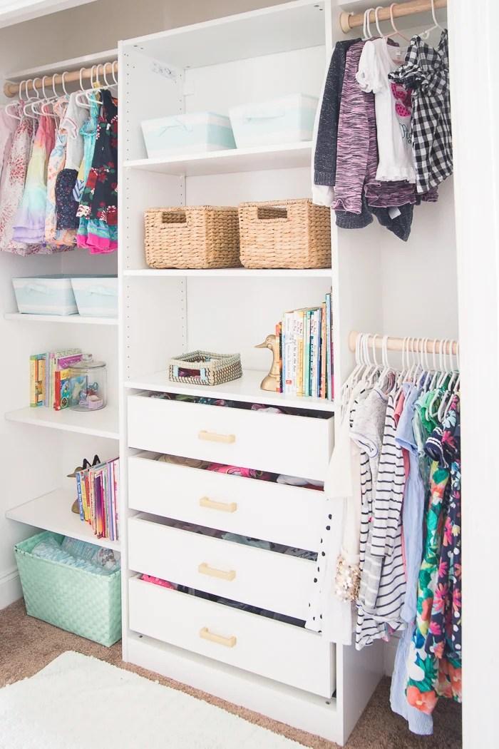 Kids Closet Makeover With Ikea Closet Organizer Diy