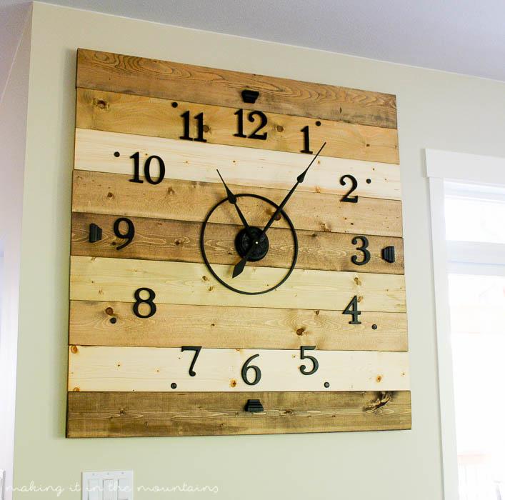 Good Diy Clock Part - 3: At 4ft Square, This Rustic DIY Clock Canu0027t Help But Make A BIG