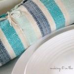 blue and aqua linens