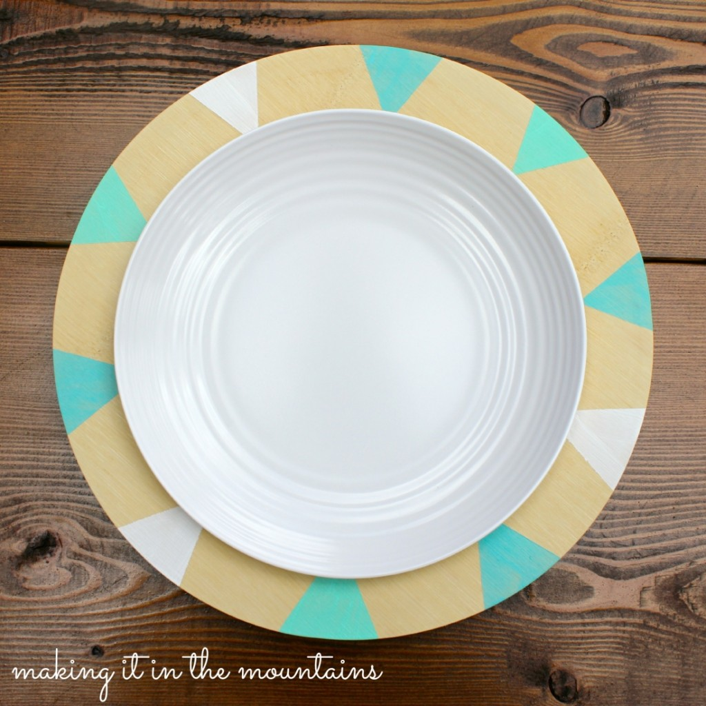 DIY Painted Plates @ making it in the mountains & DIY Bamboo Charger Plates