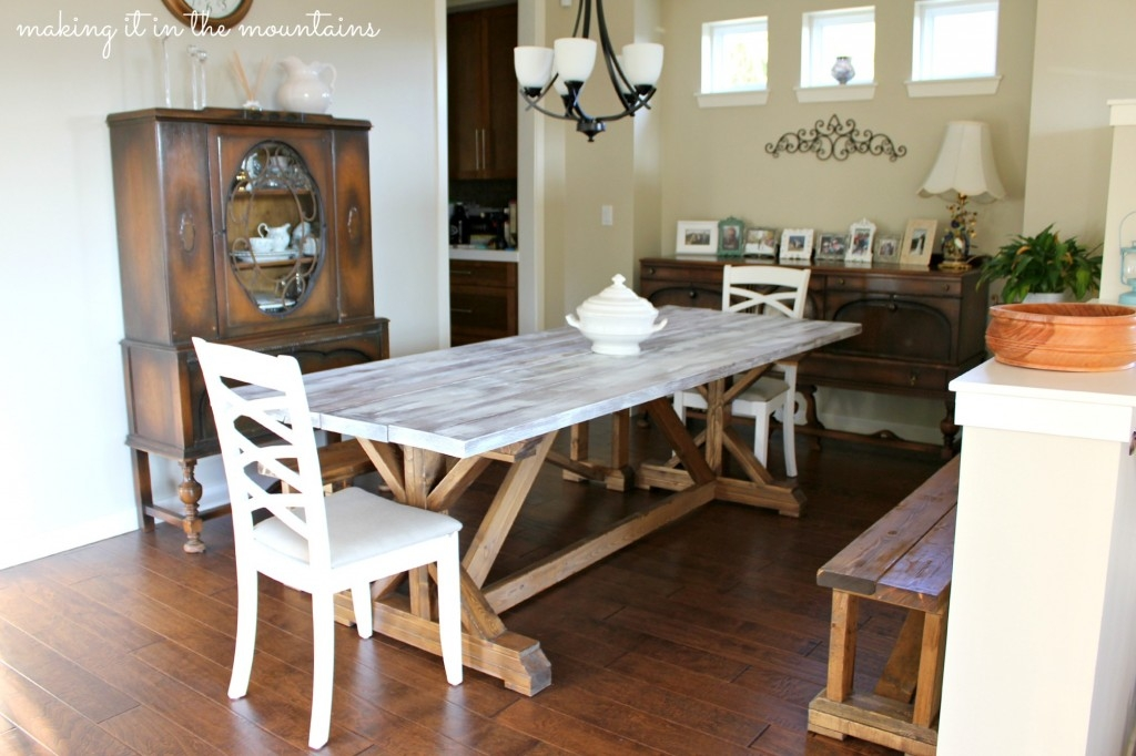 white wash dining room table.  gorgeous dining room table How to Whitewash making it in the mountains Wood Making over our Pottery Barn Inspired