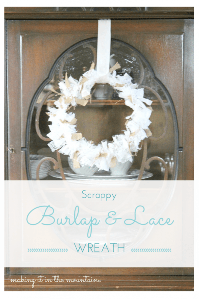 Scrappy Burlap & Lace Wreath :: making it in the mountains #burlap #lace #falldecor #wreath