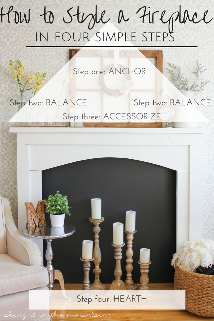 Learn how to decorate a fireplace mantel in just 4 simple steps!