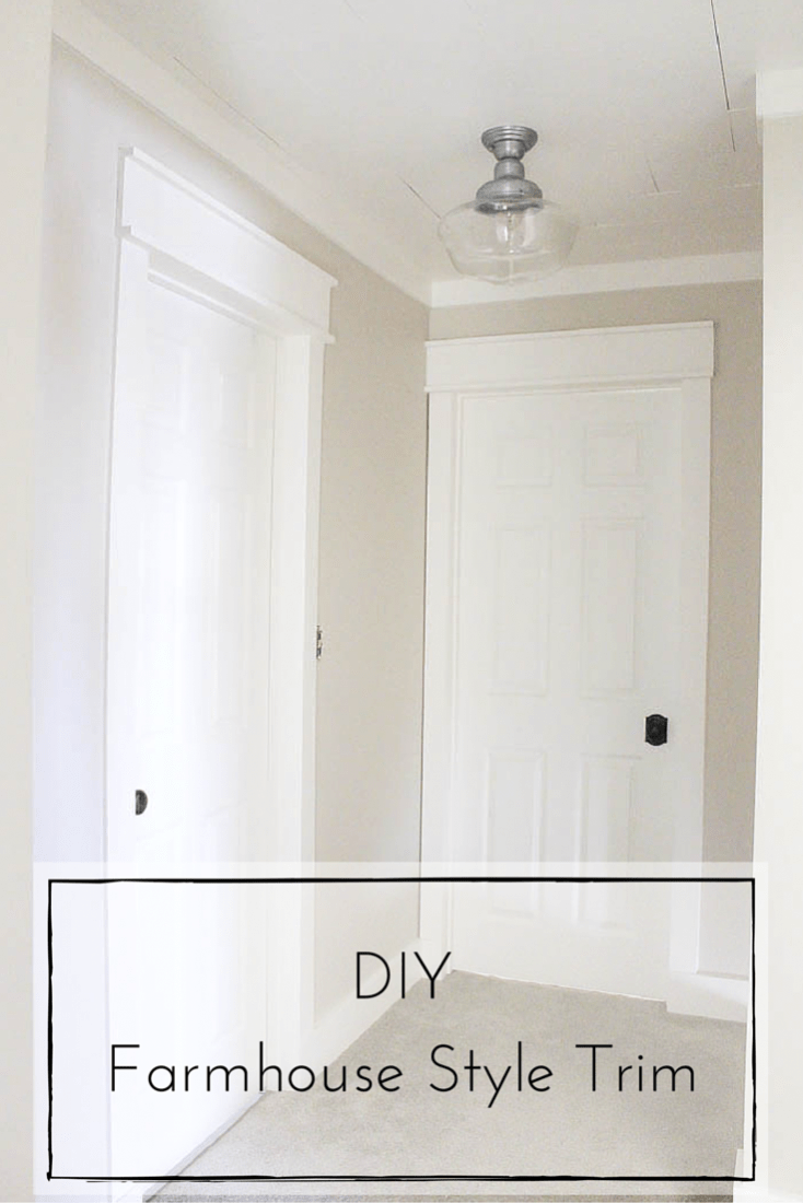 This DIY farmhouse style trim is such a simple and inexpensive way to completely transform the look of your home! | www.makingitinthemountains.com